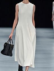cheap -Women's White Black Dress Sheath Solid Color S M