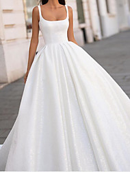 cheap -Ball Gown Wedding Dresses Spaghetti Strap Scoop Neck Court Train Polyester Sleeveless Country Plus Size with Side-Draped 2020