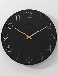 cheap -Modern minimalist silent fashion wall clock wooden clock black 30x30cm