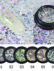 cheap -6 pcs Multi-Design / Slim design Plastics Nail Jewelry Sequins For Finger Nail Fantacy Galaxy Starry Sky nail art Manicure Pedicure Daily Colorful / Fashion