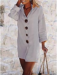 Недорогие -Жен. А-силуэт Платье - Длинный рукав Сплошной цвет V-образный вырез Свободный силуэт Белый S M L