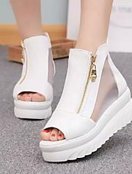 cheap -Women's Sandals Wedge Heel Open Toe PU Summer White / Black