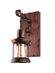 cheap -Wall Lamp Single Head Industrial Rustic Vintage Retro Wooden Wall Scone Metal Painting Color for The Home Hotel Corridor Decorate Wall Light