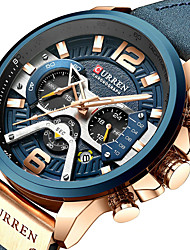 cheap -CURREN Men's Sport Watch Military Watch Quartz Luxury Water Resistant / Waterproof Analog Golden / Brown Black / Silver Black+Gloden / Genuine Leather / Calendar / date / day / Three Time Zones
