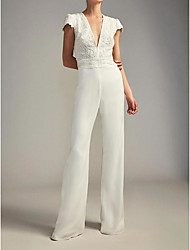 cheap -Jumpsuits Wedding Dresses Plunging Neck Floor Length Chiffon Lace Cap Sleeve Country Plus Size with Embroidery 2021