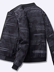cheap -Men's Daily Spring &  Fall / Spring Regular Jacket, Striped Hooded Long Sleeve Polyester Oversized Khaki / Black / Gray