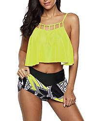 cheap -Women's Tankini Swimwear Swimsuit - Geometric S M L White Purple Yellow Green Light Green