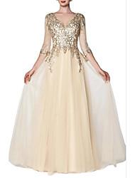 Недорогие -Блестки блестками-Line полупрозрачный рукав V-образным вырезом длиной до пола, шифоновое обручальное платье выпускного вечера