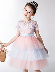 cheap -Ball Gown Knee Length Party / Pageant Flower Girl Dresses - Polyester Short Sleeve Jewel Neck with Tier / Appliques