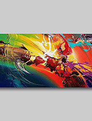 cheap -Oil Painting Hand Painted Abstract Comtemporary Modern Stretched Canvas Flamed Colors With Stretched Frame