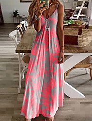 cheap -Women's Sundress Maxi long Dress - Sleeveless Floral Print Summer V Neck Casual Holiday Vacation Beach 2020 Fuchsia M L XL XXL XXXL XXXXL XXXXXL
