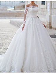 cheap -Ball Gown Wedding Dresses Off Shoulder Sweep / Brush Train Tulle Polyester Long Sleeve Country Plus Size with Lace Embroidery 2020
