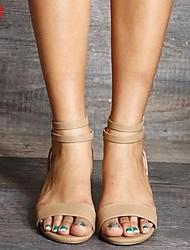cheap -Women's Sandals Wedge Sandals Summer Wedge Heel Round Toe Daily PU Black / Khaki