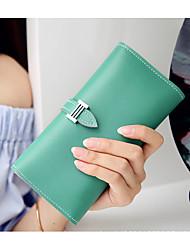 cheap -Women's Zipper PU Wallet Solid Color Yellow / Blushing Pink / Fuchsia