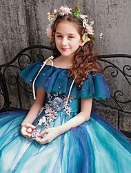 cheap -Ball Gown Floor Length Party / Pageant Flower Girl Dresses - Polyester Short Sleeve Spaghetti Strap with Appliques