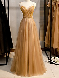 cheap -A-Line Sparkle Gold Engagement Prom Dress Spaghetti Strap Sleeveless Floor Length Polyester with Beading 2020