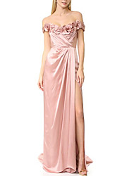 cheap -Sheath / Column Floral Pink Engagement Prom Dress Off Shoulder Short Sleeve Sweep / Brush Train Satin with Pleats Split 2020