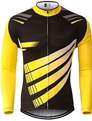 cheap -21Grams Men's Long Sleeve Cycling Jersey Spandex Polyester Black / Yellow Geometic Bike Jersey Top Mountain Bike MTB Road Bike Cycling UV Resistant Breathable Quick Dry Sports Clothing Apparel