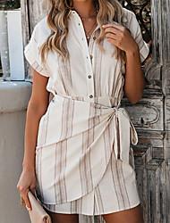 cheap -Women's White Shift Dress - Short Sleeves Striped Patchwork Spring & Summer Shirt Collar Basic Boho Work Weekend Belt Not Included Light Brown S M L XL