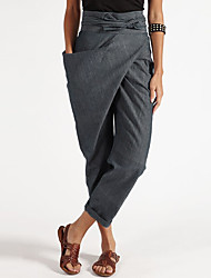 cheap -Women's Basic Loose Chinos Pants - Solid Colored Gray S / M / L