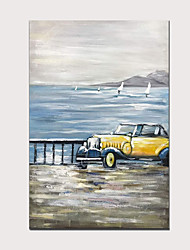 cheap -100% Hand Painted Classic Yellow Vintage Car Modern Abstract Vertical Oil Paintings for Home Decor with Wood Inside Framed Ready to Hang