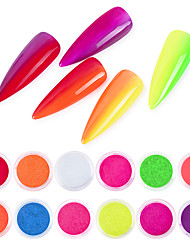 cheap -12 pcs Glossy / Multi-Type Glitter Glitter Powder Loose powder For Finger Nail Solid Colored nail art Manicure Pedicure Daily Trendy / Colorful
