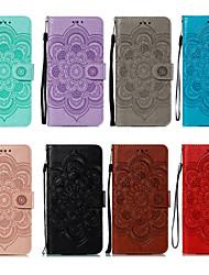 cheap -Phone Case For LG Full Body Case Leather LG V40 LG K30 LG K40 Card Holder Shockproof Flower / Floral PU Leather