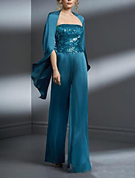 cheap -Pantsuit / Jumpsuit Mother of the Bride Dress Sparkle & Shine Sweetheart Neckline Floor Length Polyester Sleeveless with Sequin 2021