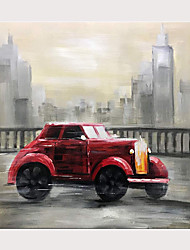 cheap -Hand-Painted Classic Red Vintage Car Oil Paintings Buildings Cityscape Wall Art on Canvas Modern Artwork with Inside Framed Ready to Hang