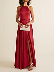 cheap -A-Line Halter Neck Floor Length Satin Bridesmaid Dress with Pleats / Split Front