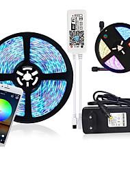 Недорогие -2x5m Гибкие светодиодные полосы света Наборы света RGB TIKTO 2 * 300 светодиодов smd5050 9 мм 1 х 12 В 3A адаптер / Wi-Fi контроллер 1