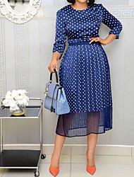 お買い得  -女性用 Aライン ドレス - 七分袖 波点 ブルー S M L XL XXL XXXL