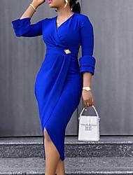 Недорогие -Жен. Ассиметричное Оболочка Платье - Рукав 3/4 Сплошной цвет Лето V-образный вырез Формальная 2020 Тёмно-синий M L XL XXL
