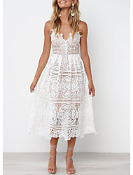 cheap -Women's White Dress Spring Vacation Beach A Line Solid Color Strap Lace Embroidery Eyelet S M