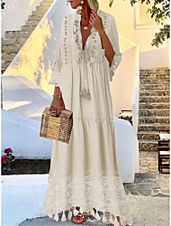 cheap -Women's Maxi long Dress - 3/4 Length Sleeve Tassel Lace Spring & Summer Deep V Casual Boho Holiday Vacation Beach Loose Blushing Pink Beige Light Blue S M L XL XXL XXXL XXXXL