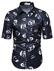 voordelige -Heren Portret Print Overhemd Hawaii Dagelijks Zwart
