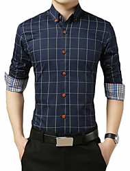 cheap -Men's Daily Work Business / Basic Shirt - Plaid / Check Wine