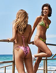 cheap -Women's Basic Boho Yellow Blushing Pink Triangle Cheeky Tie Side Bikini Swimwear Swimsuit - Camo / Camouflage Backless Lace up Print S M L Yellow