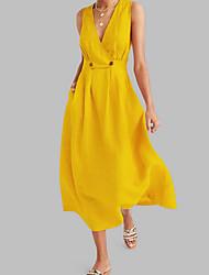 Недорогие -Жен. А-силуэт Платье - Без рукавов Сплошной цвет Лето V-образный вырез Формальная 2020 Белый Синий Желтый Розовый S M L XL XXL XXXL