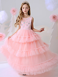 cheap -Ball Gown Floor Length Party / Birthday Flower Girl Dresses - Polyester Sleeveless Jewel Neck with Beading