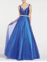 cheap -Ball Gown Luxurious Blue Quinceanera Prom Dress Spaghetti Strap Sleeveless Floor Length Polyester with Sash / Ribbon 2020