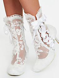 cheap -Women's Cosplay Boots Boots 2020 Kitten Heel Round Toe Sweet Minimalism Wedding Party & Evening Bowknot Lace Solid Colored Lace Booties / Ankle Boots White