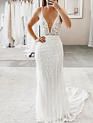 cheap -Mermaid / Trumpet Wedding Dresses Plunging Neck Sweep / Brush Train Polyester Sleeveless Country Plus Size with Embroidery 2020