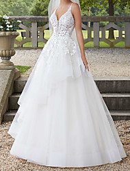 cheap -A-Line Wedding Dresses Spaghetti Strap Court Train Polyester Sleeveless Country Plus Size with Ruffles Lace Insert Appliques 2020