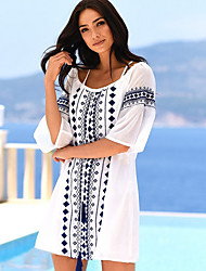 cheap -Women's White Dress Loose Print Sequins Tassel Fringe One-Size