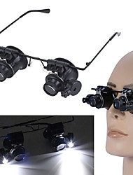 cheap -20X LED Magnifier Glasses Magnifying Eye Glasses with LED Light Jewelry Watch Repairing Tools