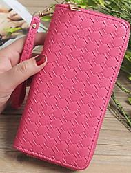 cheap -Women's Zipper PU Wallet Solid Color Blushing Pink / Light Purple / Fuchsia