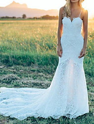 cheap -Mermaid / Trumpet Wedding Dresses Spaghetti Strap Court Train Lace Sleeveless Country Plus Size with Lace 2020