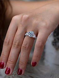 cheap -4 carat Synthetic Diamond Ring Silver For Women's Pear cut Ladies Luxury Elegant Bridal Wedding Party Evening Formal High Quality Pave