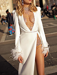 cheap -Two Piece Wedding Dresses High Neck Plunging Neck Floor Length Polyester Long Sleeve Sexy Plus Size with Feathers / Fur Sashes / Ribbons Crystals 2020 / Split Front